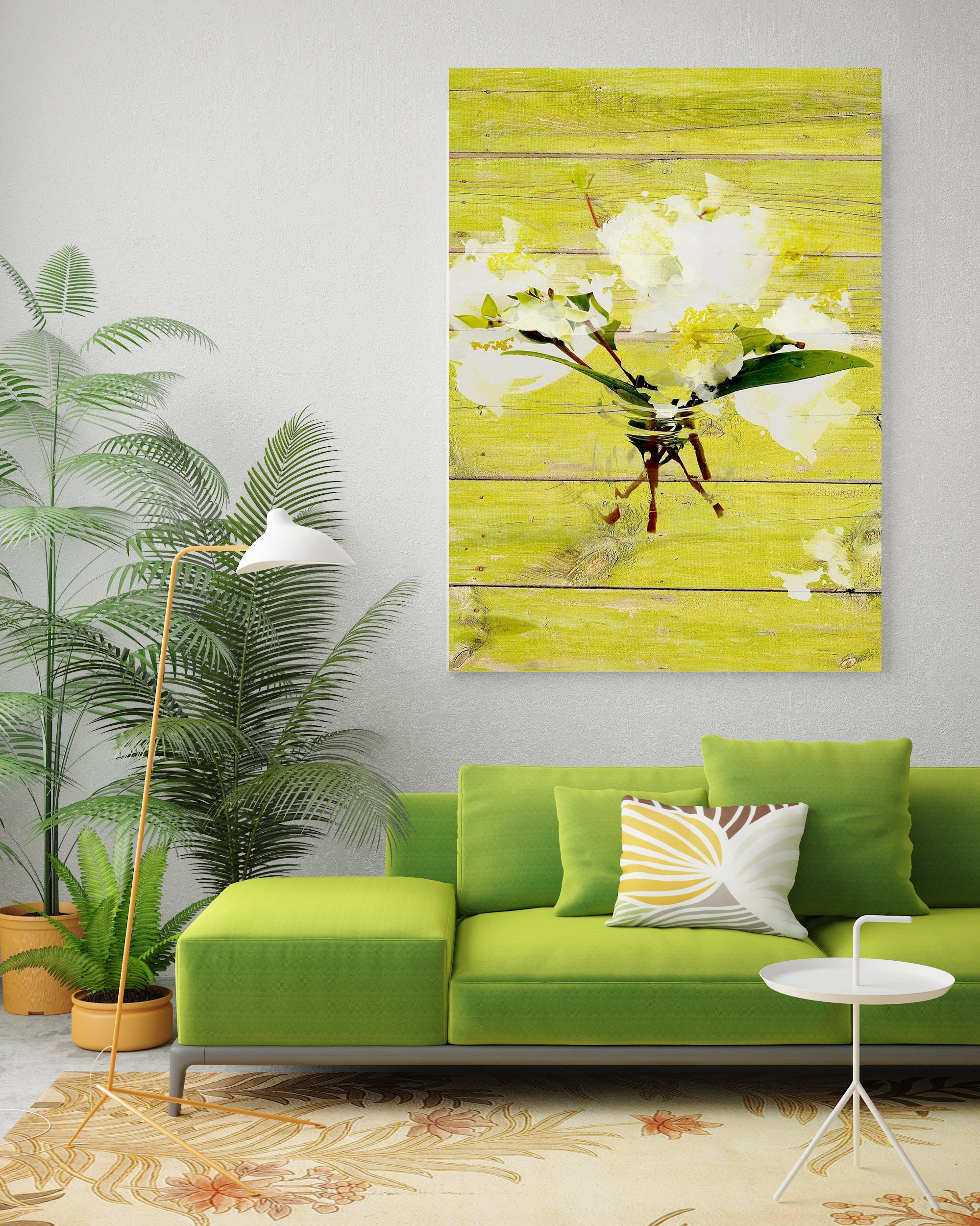 White Flowers in vase. Floral Painting White Green Abstract