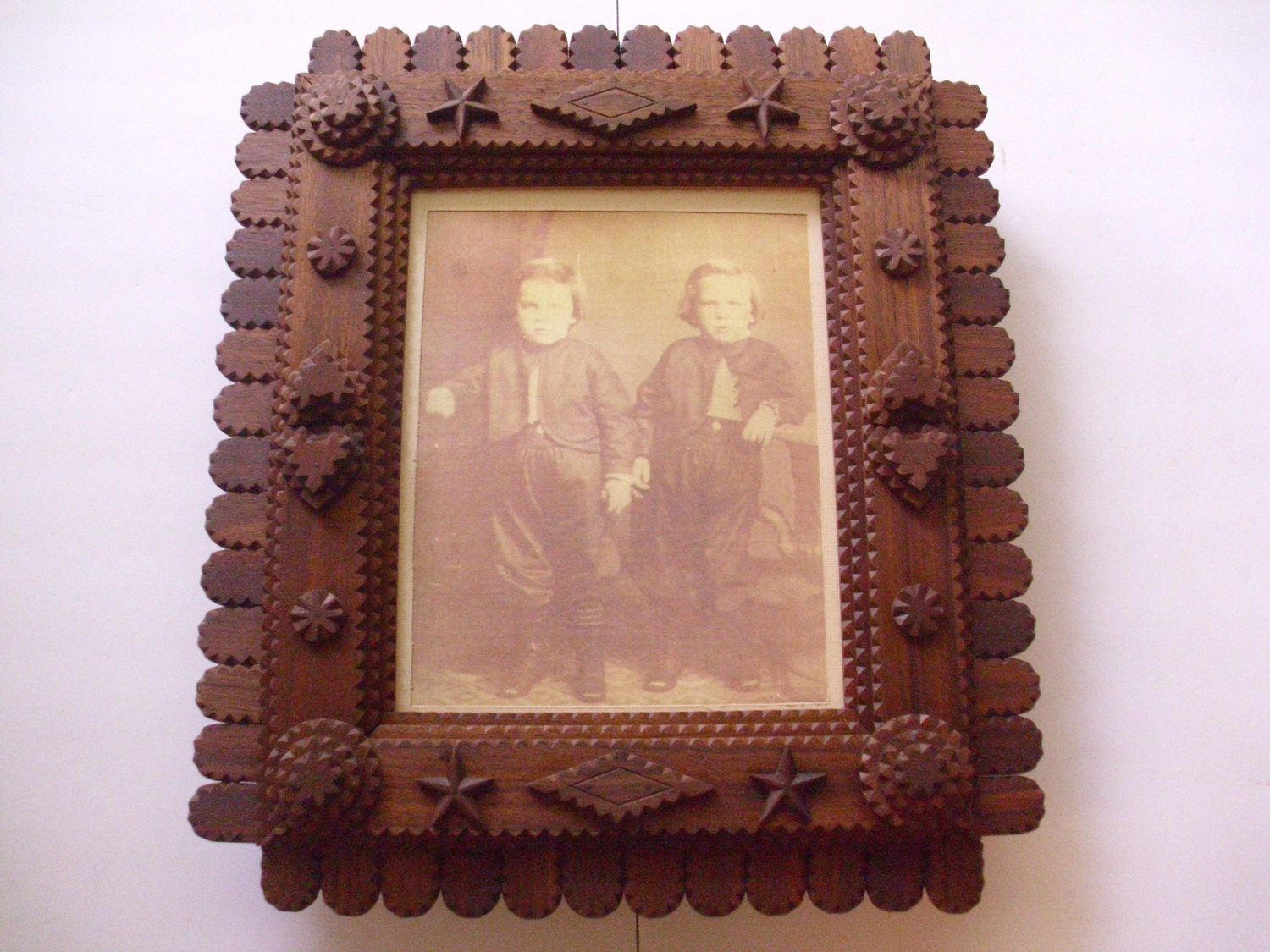 Handcarved Tramp Art Frame, Wood Mirror Frame, Wood Picture Frame ...