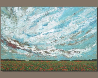 FREE SHIP Original Abstract Landscape Painting, Poppy Field Painting, Poppies, Original Painting, Prairie Painting, Living Room Decor, 24x36