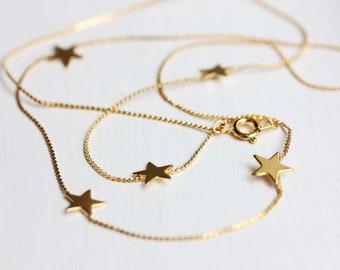 Gold Star Necklace, Long Gold Star Necklace, Star Charm Necklace, Delicate Star Necklace