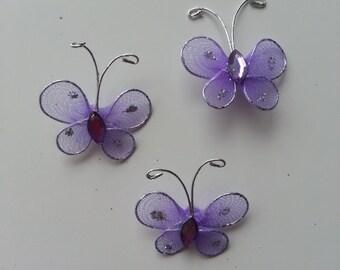 lot de 3 minis papillons mauve et argent 25*25mm