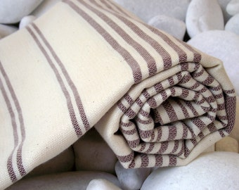 Turkishtowel-High Quality,Hand Woven Turkish Cotton Bath Towel or Sarong-Brown Stripes on Natural Cream