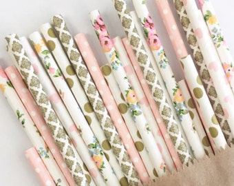 Wildflower Fields Straw Mix//paper straws, straw, bachelorette party, party decorations, party supplies, birthday party deco, baby shower,