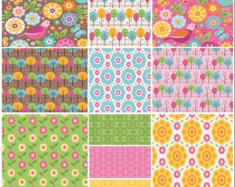 Riley Blake Summer Song 2   Zoe Pearn   4 Fat Quarters   Precuts   Floral Blue   Daisy Pink   Damask Green   Damask Pink   Quilting Cotton