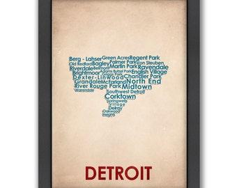 Detroit Word Map, 100% Original Design from Flatiron Design