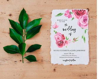 Watercolor Wedding Invitation, Calligraphy Wedding Invitation, Pink Floral Wedding Invitations, Floral Watercolor Wedding
