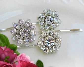 Bridesmaids Hair Pins, Silver Bobby pins silver hair clips Bridesmaids gift idea Gift for Bridesmaid