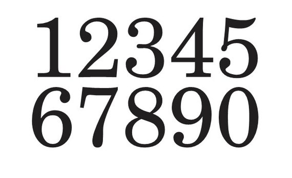 primitive number stencil 4 schoolbook font numbers 0 9