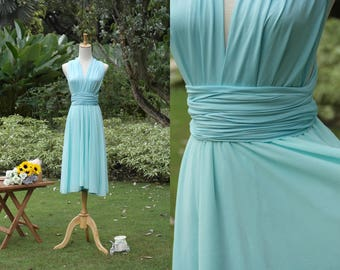 Convertible Dress With Chiffon Overlay in Aquamarine
