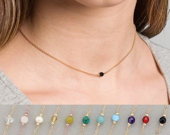 Birthstone Necklace · Dainty Gold Necklace · Gemstone Necklace · Dainty Necklace · Layering Necklace · Bridesmaid Gift
