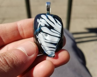 DuSablon Glass Pendant. 50% Recycled Glass. Smaller in size. Sterling Silver plated bail.