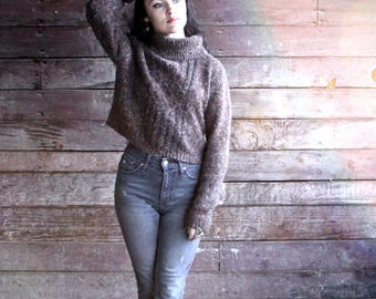 90s cropped sweater - brown knit turtleneck top - small - cable knit slouchy fuzzy wool sweater