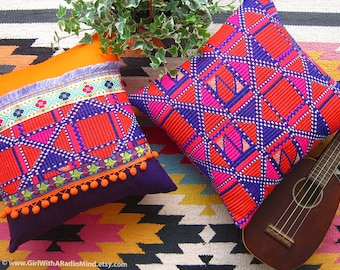 2 Aztec Pillow Cover - ORANGE PURPLE WEAVE 16x16 Boho Kilim Cushion Cover - Bohemian Home Decor