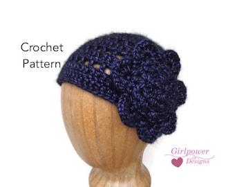 Cloche with Flower, Crochet Pattern, Lacy Beanie, Women's Cloche Hat, Teen Girls, Worsted Yarn, Quick Crochet