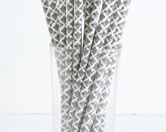 25 Black and White Damask Paper Straws- Perfect for your next party!