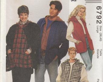 Oversize Jacket Pattern Vest Fall Coat Men and Misses Size 38 - 40 Large Uncut  McCalls 6792