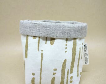 Pots in fabric, planters, accessory for the home, cotton, linen, screen printed gold