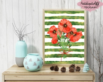 Red Poppies Wall Art, Watercolor Poppies, Floral printable, Floral print, Floral art print, Flower printable, Poppy Print, Poppy paint art