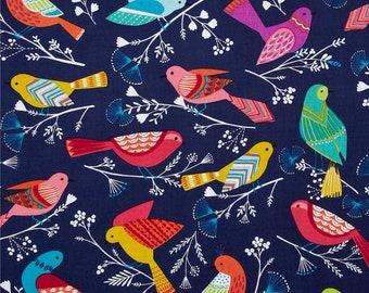 Michael Miller Bird Flock NAVY fabric
