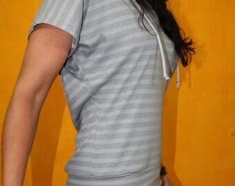 Minidress Hoodiedress gray striped jersey dress Hoodie sporty streetwear capped sleeves narrow rock-wide shell