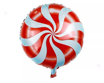 Red and White Pepperment Foil Balloon   AF34