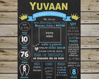 King Crown 1st Birthday Chalkboard - 1st BIRTHDAY KING Customized CHALKBOARD - 1st Birthday Chalkboard Poster - With Picture - Digital