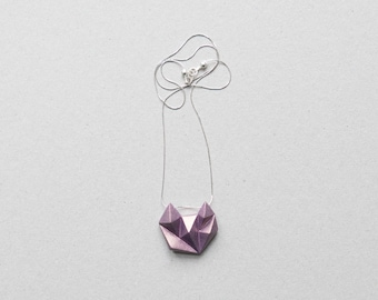 Minimal geometric triangle metallic halo violet gold necklace. Silver necklace.