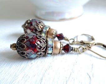 Burgundy Red Earrings Dark Garnet Rustic Glass Earrings Bohemian Earrings Vintage Style Dark Patina Brass Filigree Earrings Winter Wedding