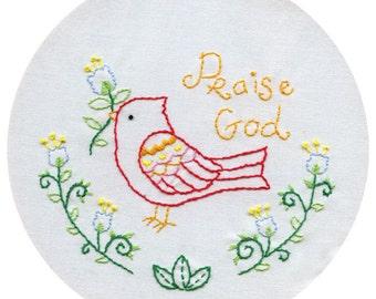 Praise Bird - PDF Hand Embroidery Pattern
