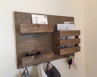 Mail Organizer, Mail Holder, Mail Rack, Key Rack, Coat Rack, Mail Wall Organizer, Entry Shelf, Rustic Entry Shelf