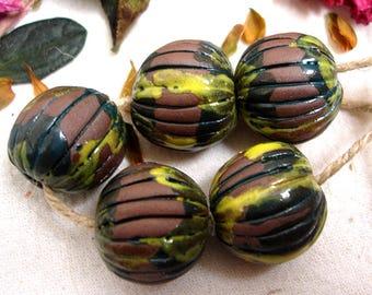 Large melon ceramic beads, Unique artisan beads, Handmade craft beads, AniFlowerbells #401