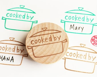 cooked by rubber stamp | cooking label stamp | sauce pan | diy party invitations | holiday card making | hand carved stamp by talktothesun