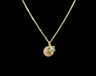 Matte Gold Wavy Disc and Mint Green Swarovski Crystal Pendant Chain Necklace - Ideal for layering!