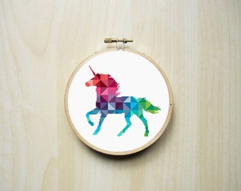 Geometric Unicorn Modern Counted Cross Stitch Pattern | Colourful Rainbow Triangles Mythical Unicorn Silhouette | Instant PDF Download