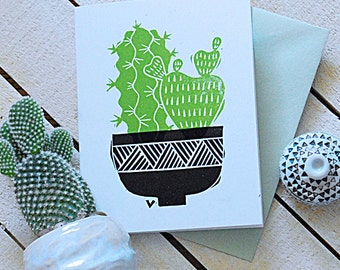 Cactus Garden Two Letterpress Note Cards