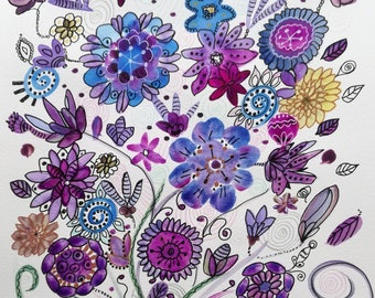 Watercolor flowers: 3 scattered flowers