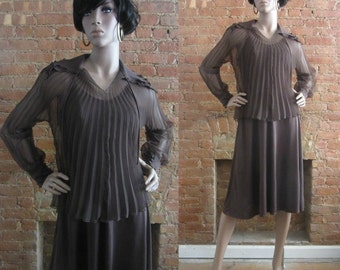 1970s Jack Hartley brown 2 piece dress    70's Boho Chic Disco Studio 54