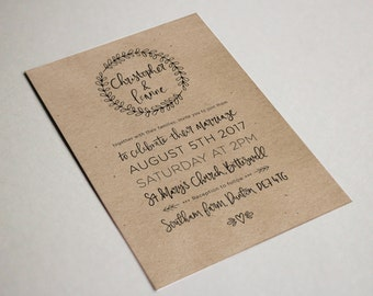Rustic wreath Wedding invites | Kraft or White | Hand lettered | Fully customisable