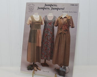 Vintage Jumpers, Jumpers, Jumpers Paperback Book by Cindy Taylor Oates (c. 1998) Sizes 6-22, Jumper Sewing Pattern, Versatile Loose Fitting