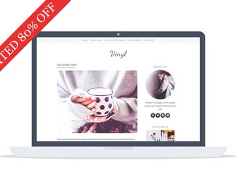 80% - Vinyl - Wordpress Theme - Premade - Self Hosted - Wordpress Blog Theme - Responsive