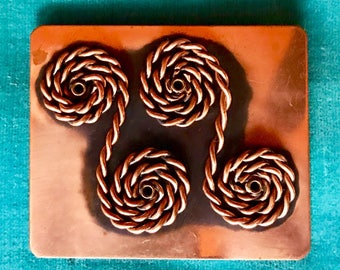 Rebajes Vintage Copper Mid Century Modernist Brooch Pin