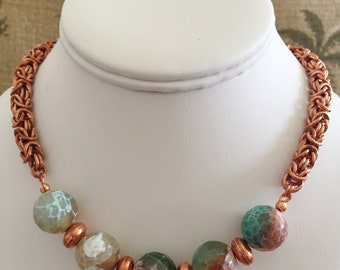 Sophie Necklace: Heavy copper Byzantine chain maille chain, Agate beads, Toggle clasp.   20.5 inches.