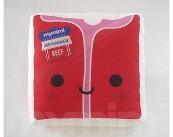 "Red Meat Raw Steak  - Decorative Pillow - Throw Pillow - Kawaii Pillow - Room Decor - Dorm Decor - Novelty - Gift - Childrens Toys - 7 x 7"""