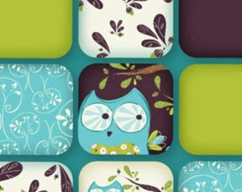By the Yard Whoo's Cute Turquoise Owl Collage Flannel Fabric JTH0340