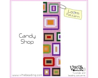 Loom Pattern: Candy Shop - for cuff bracelet - INSTANT DOWNLOAD pdf - Special savings with coupon codes