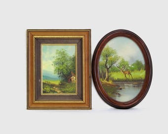 Vintage Oil Painting Bucolic Country Setting with Cottage