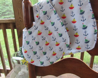 Anchors & Sailboats Bib and Burp Cloth Gift Set