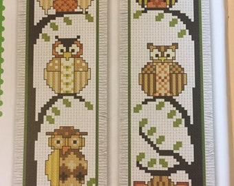 Finished cross stitch bookmark, owls