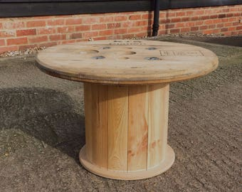 Cable Reel Drum Coffee Table Garden Upcycled Hand-made Recycled Reclaimed Bespoke Industrial