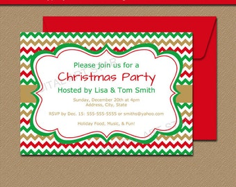 Green Chevron Xmas Invitation Template EDITABLE Christmas